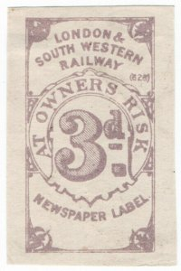 (I.B) London & South Western Railway : Newspaper Label 3d (die proof)