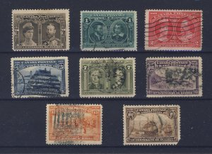 8x Canada 1908 Quebec Used Stamps #96-1/2c to #103-20c Guide Value = $450.00