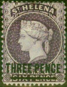 St Helena 1876 3d Purple SG23 Fine Mtd Mint