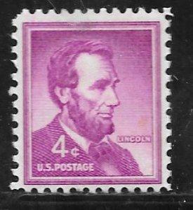 USA 1036: 4c Lincoln, MNH, VF
