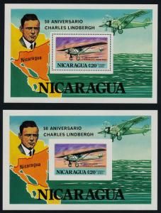 Nicaragua C930 perf + imperf MNH Charles Lindbergh, Spirit of St Louis, Map