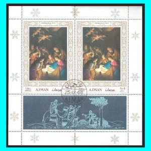 Christmas Ajman 1968 The Virgin and the Child Painting Niotti Mi353 Block cto €3