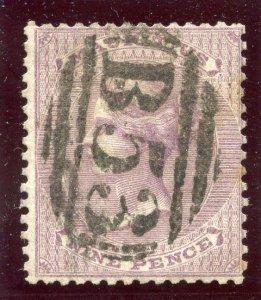 Mauritius 1860 QV 9d dull purple very fine used. SG 51. Sc 29.