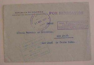 COLOMBIA  TO CONSUL COTA RICA 1931 HIDROAVION BOGATA VIA BARANQUILLA