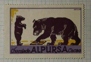 Alpursa Chocolate Cacao Nitsche Artist Bear Cub German Brand Poster Stamp Ads