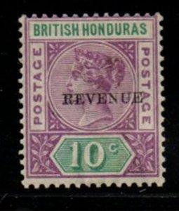 British Honduras Sc 49 1899 REVENUE overprint on 10 c Victoria stamp mint