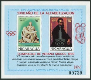 Nicaragua Michel 2128 Bl.118,MNH. Michelangelo.Olympics Lake Placid,Moscow-1980.