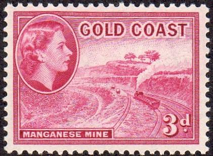 Gold Coast 153 - Mint-H - 3p Manganese Mine (1954) (cv $1.25)