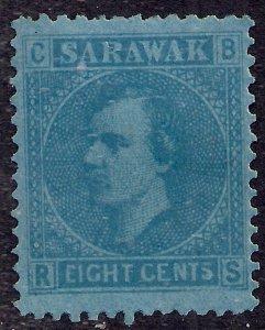 Sarawak 1871 QV 8ct Blue MM SG 6 ( H251 )