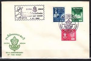 Thailand, Scott cat. 370-372. Thailand Scouts, 50th Anniv. First day cover. #4 ^
