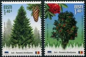 HERRICKSTAMP NEW ISSUES ESTONIA Sc.# 855-56 Forests' Gold - Trees Joint Issue