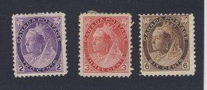 3x Canada Victoria Numeral stamp #76-2c #78-3c #80-6c  Guide Value = $275.00