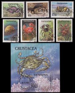 Tanzania Crabs 7v+MS CTO SG#1984-1990+1981 SC#1295-1302 MI#1923-1929+Block 269