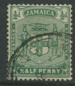 Jamaica -Scott 58 - Arms of Jamaica - 1906 - Used - Single 1/2p Stamp