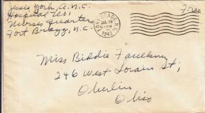 1942, WW2: US Army Nurse, Ft. Bragg, NC to Oberlin, OH (M3402)