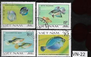 VIET NAM VN-22 A SET OF (4) USED FISH STAMPS,(1982) SC 1107,1106,1108,1105