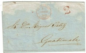 Salvador 1862 Sonsante cancel in red on cover to Guatemala