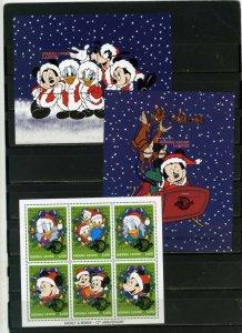 SIERRA LEONE 1997 WALT DISNEY CHRISTMAS SHEET OF 6 STAMPS & 2 S/S MNH