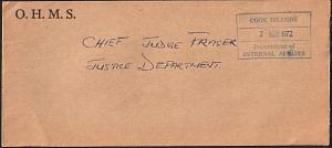 COOK IS 1972 Local Rarotonga official cover : Internal Affairs frank......14911W