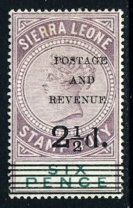 SIERRA LEONE 1897 POSTAGE AND REVENUE 2½d Overprint on 6d. Stamp Duty SG 59 MINT