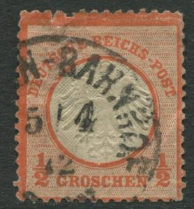 Germany - Scott 3 - Eagle Small Shield -1872 - Used - 1/2gr Stamp