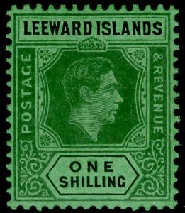 LEEWARD ISLANDS SG110ba, 1s grey & black/emerald, LH MINT. Cat £24.