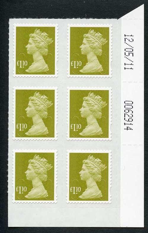 1.10 Yellow-olive Self Adhesive Date Block 12/05/11 Bottom Right Corner M11L