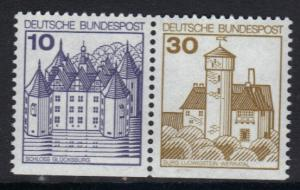 Germany  1977 MNH  German castles 10 + 30  imperf bottom