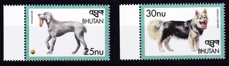 Bhutan 1999  Dogs set of 2 Complete    VF/NH
