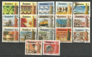 ZIMBABWE, 1995, used set of 17, Agriculture and industry. Scott 493-512