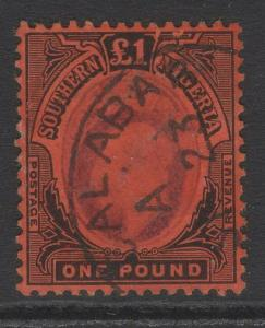 SOUTHERN NIGERIA SG44 1909 £1 PURPLE & BLACK/RED FINE USED