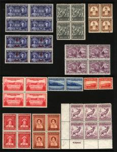 Newfoundland #132-#270 1923-1947 MNH Assorted Blocks & Pairs 11 Items
