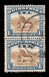 South West Africa SWA 1927 o/p on 1/- vertical pair SG 64 used