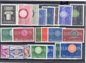Europa CEPT  1960 selection VF NH  - Lakeshore Philatelics