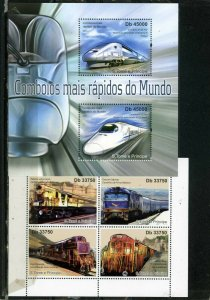 ST.THOMAS & PRINCE ISLANDS 2011 LOCOMOTIVES/TRAINS 2 SHEETS OF 2 & 4 STAMPS MNH