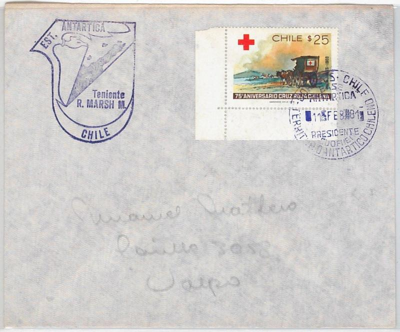 POLAR Antarctic -  POSTAL HISTORY COVER  -  CHILE  1981 - RED CROSS