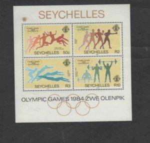 SEYCHELLES #550a 1984 SUMMER OLYMPICS MINT VF NH O.G S/S