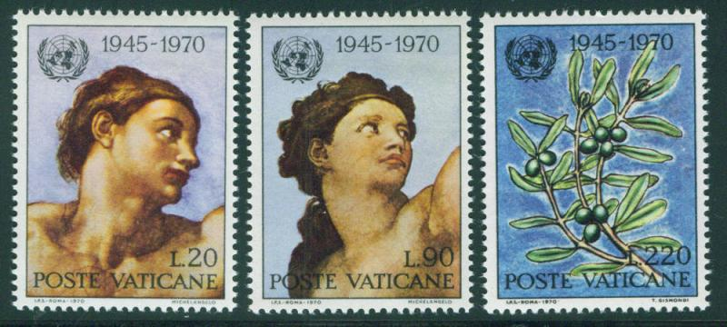 VATICAN Scott 492-4 MNH** 1970 UN 25th anniversary set