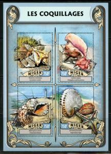 Niger MNH S/S SEASHELLS 2016 4 Stamps