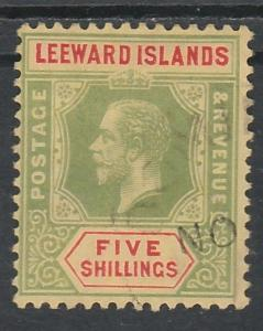 LEEWARD ISLANDS 1912 KGV 5/- WMK MULTI CROWN CA USED
