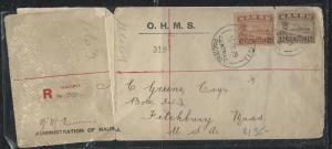 NAURU (P2612B) 1929 SHIP 1/2D+5D REG FROM NAURU TO USA  VERY NICE