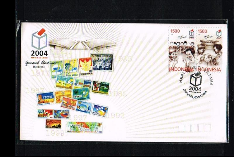 2004 - Indonesia FDC 04/04 - Government - Elections - Stamps on cover [PB8_165]