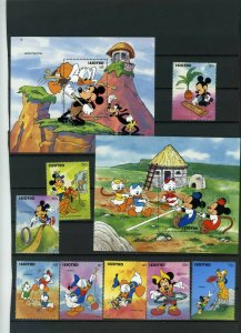 LESOTHO 1991 WALT DISNEY GAMES SET OF 8 STAMPS & 2 S/S MNH