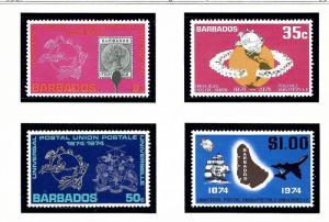 Barbados 412-15 MNH 1974 UPU