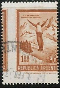 56436a - ARGENTINA -  POSTAL HISTORY:  SKIING - STAMP with perforation error !