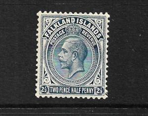 FALKLAND IS 1921-28  2 1/2d   KGV   MH  SG 76A