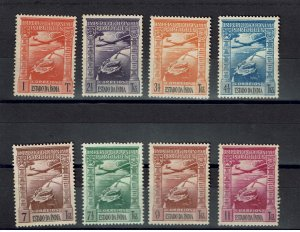 D - India 1938 Airmail Set # 1/8 MH