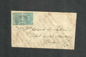 Charlottesville VA Cover Dec 15 1864 CSA Sc#7 Pair Adversity Envelope