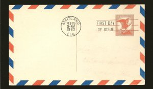 USA UXC4 Bald Eagle 1963 Postcard First Day Cover