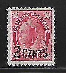 CANADA  87 MINT HINGED  SURCHARGED QUEEN VICTORIA ISSUE